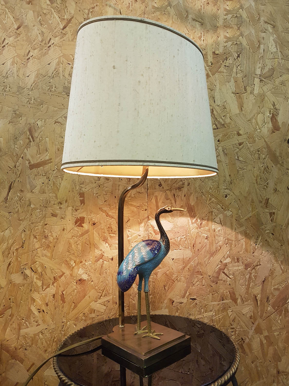 Junk Deluxe Cloisonn Peacock Table Lamp Wiring Uk Quality Brass With Enamelled And Original Shade In Very Good Condition Has Been Checked New Plug Installed Pat