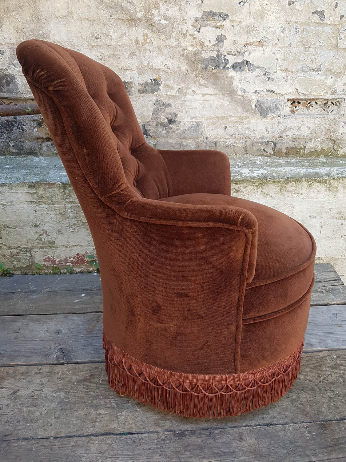 Junk Deluxe :: Pair of Brown Velour Tub Chairs