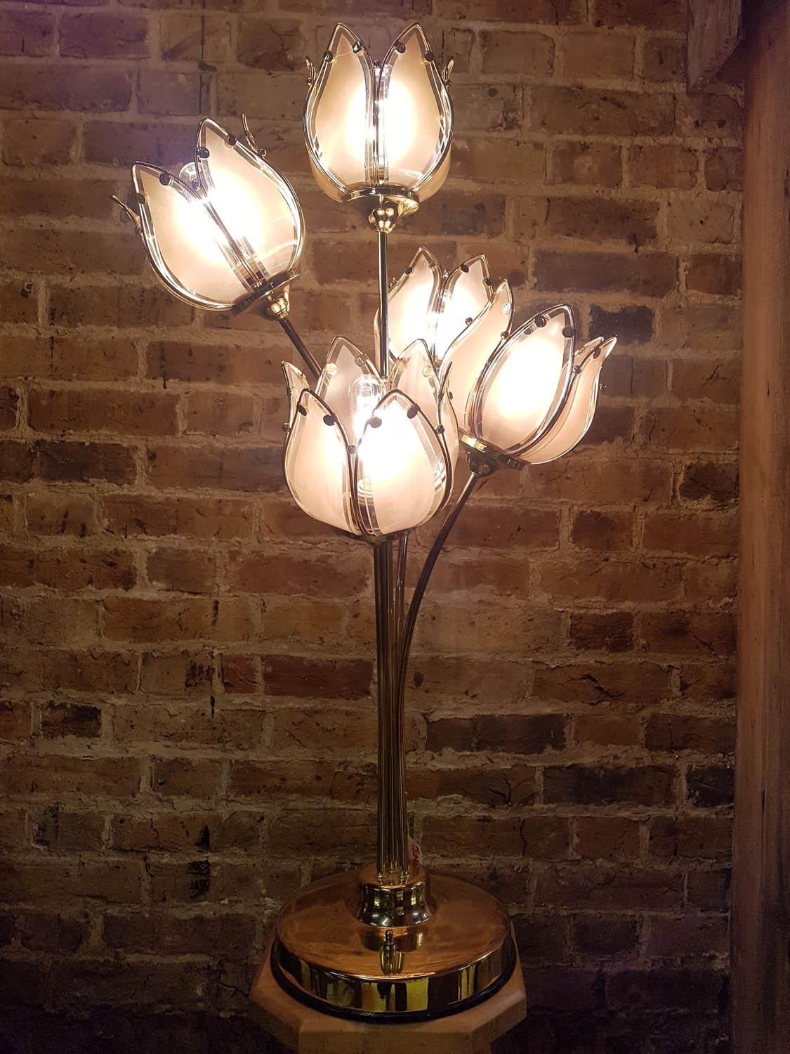 Junk Deluxe Belgian Xl Flower Table Lamp Four Way Switch Design Brass Plated With Five Pink Tinted Glass Shade Allows For The To Be Switched Off Two Flowers Lit
