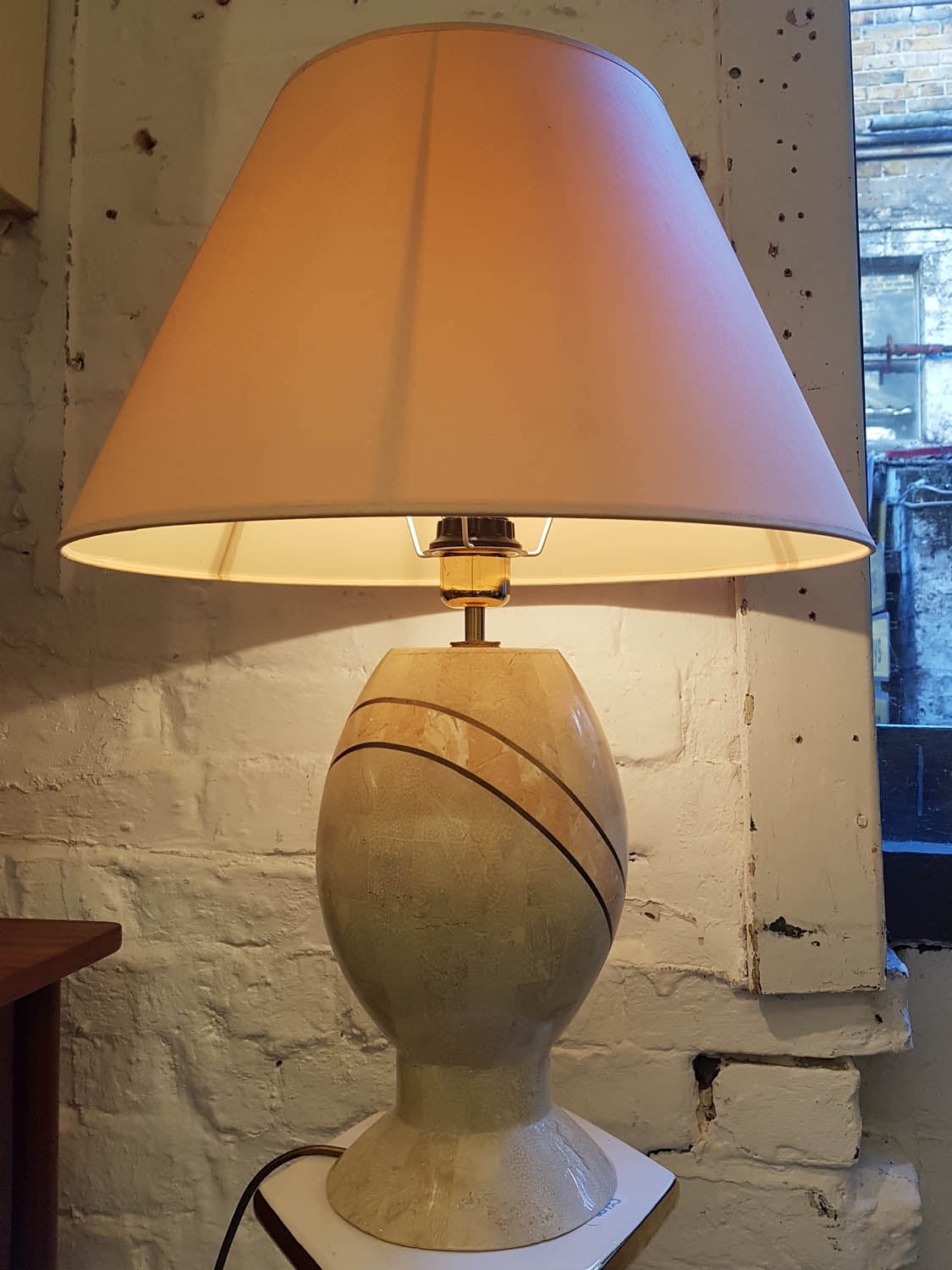Junk Deluxe Marble And Brass Table Lamp Rewiring A Stunning Tessellated With Peachy Pink Shade One Small Stain To The Vintage As Photographed Minor Fleabite Chips